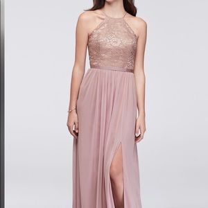 DAVID'S BRIDAL Bridesmaids Dress Rose Gold Metalic